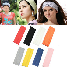 Women's Sports Headband Elastic Pure Color Sports Bandeau Hair Band Fixed Hair Sweat Absorption Excellent Polyester sports cotton sweat headband blue