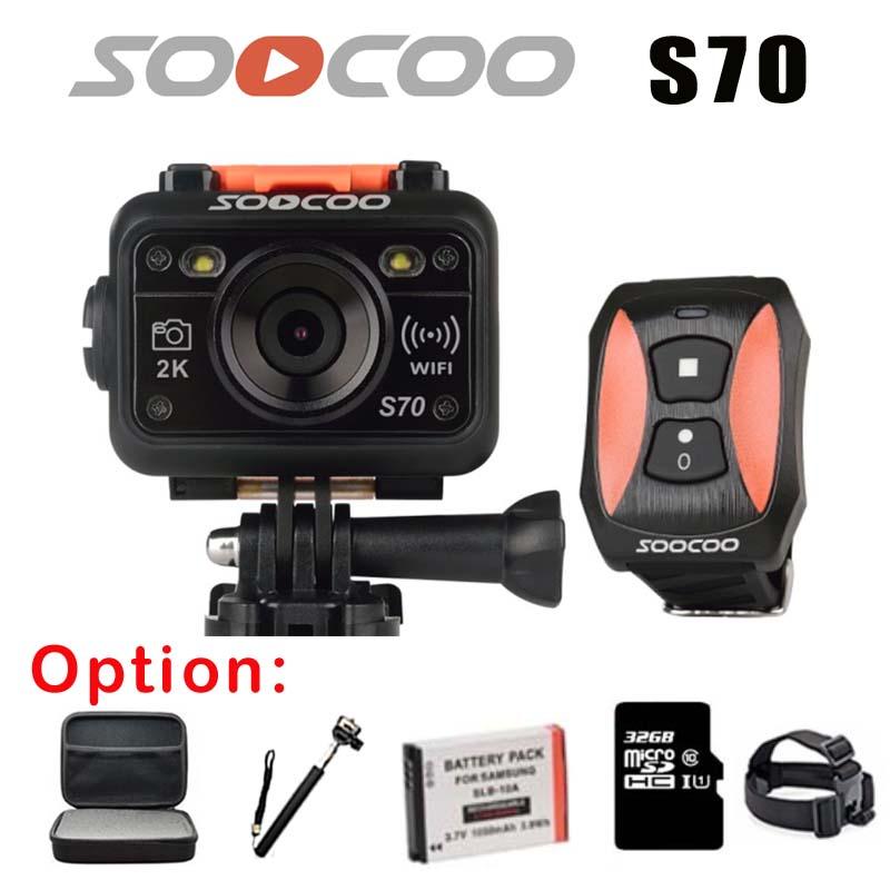 Prix pour D'origine SOOCOO S70 WiFi 2 K Sport Action Caméra avec Montre Télécommande Sous-Marine 60 M NTK96660 Vidéo Enregistreur + option monopode