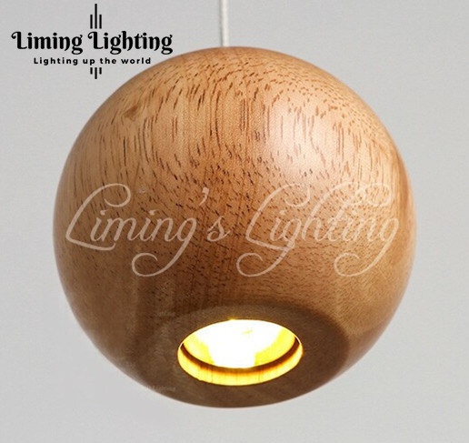 Solid Wood Modern Pendant Light Chinese Japanese Nordic Creative Minimalist Living Room Dining Wooden Ball Wooden Pendant Lamp bamboo wooden pendant lamp head wood japanese nordic korean creative dining room pendant lamps zb53