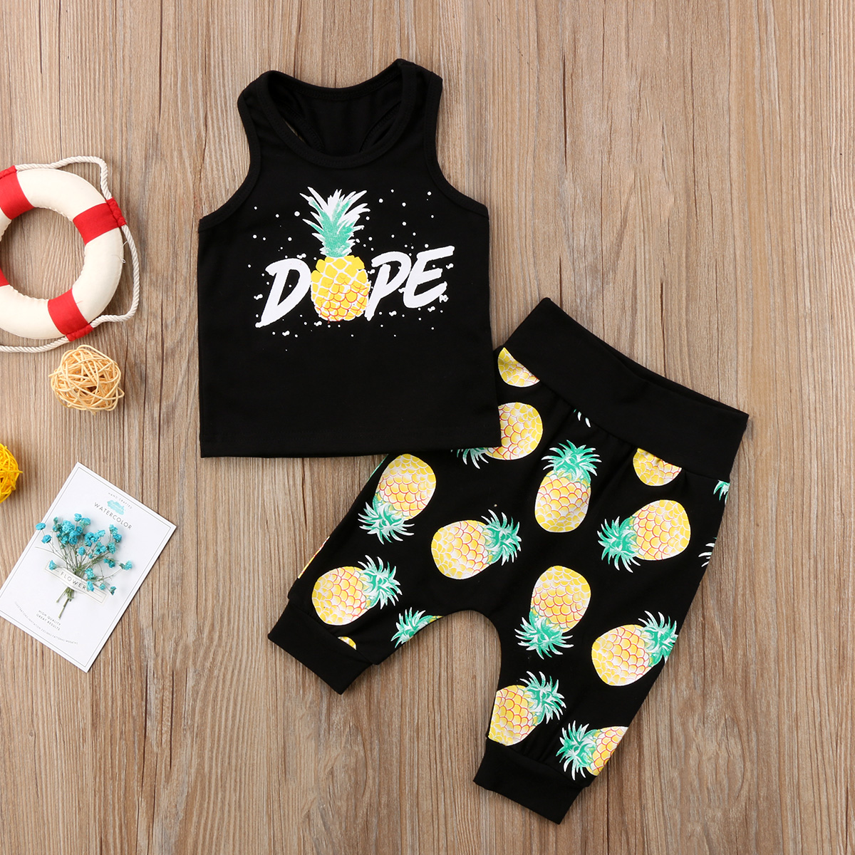 2PCS Pudcoco HOT SALE Toddler Infant Kid Baby Boys Girls Pineapple Sleeveless T-shirt And Pants Outfits Sets 0-24M