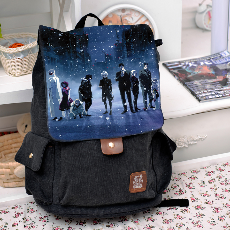 Cool Black Canvas Bag Tokyo Ghoul Kaneki Ken Cosplay Backpack Kirishima Touka/Juzo Suzuya/ Rei Bags For Men Women School Bags