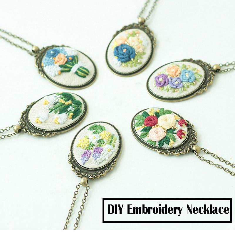 DIY Necklace Embroidery Kits,Needlework Flower Cross Stitch Sets Embroidery Sets With Frame Swing Unfinished Creative Gift