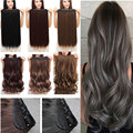 "26"" Human Sythic Hair Extension Clip In On Hair Extension  4/3 Full Head 100% Natural Straight  US UK Fast SHIP"