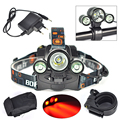 New Bike Light  XM-LT6 +2R5 Red LED Headlight Headlamp Head Torch lamp Light linternas frontales cabeza 3 LED for Hunting
