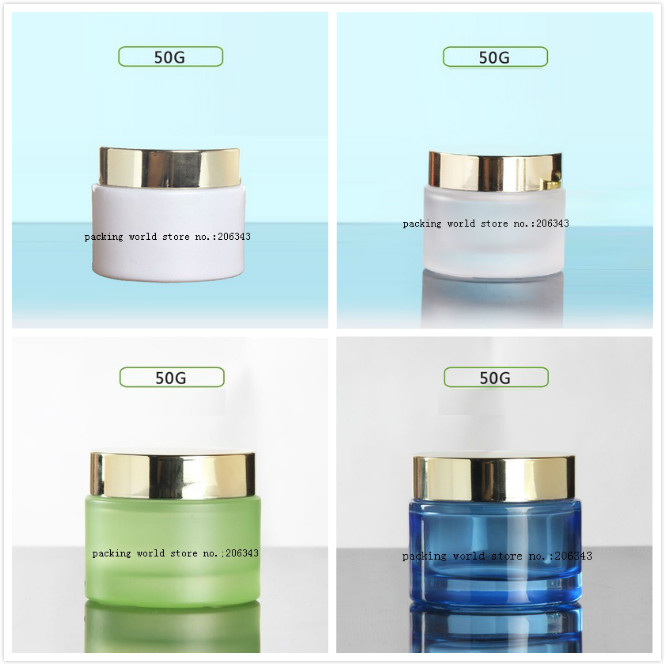 50G blue frosted white green glass jar bottle shiny gold lid for essence eye cream day