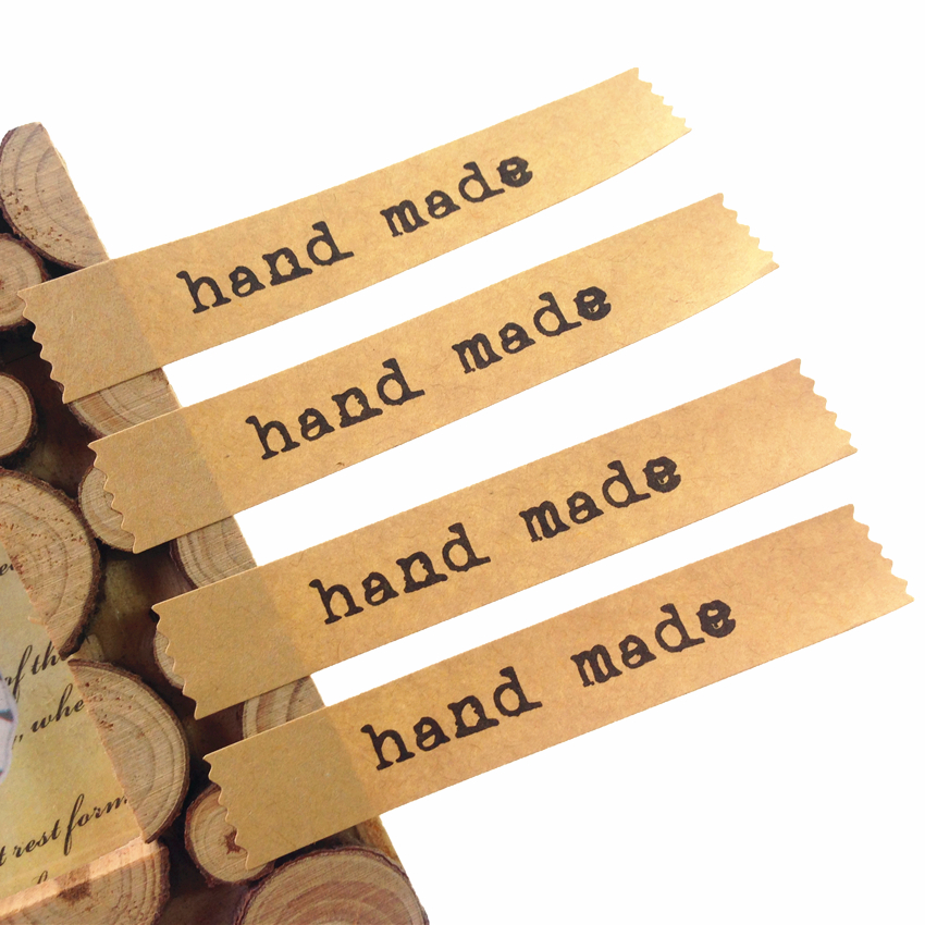 600pcs/lot Vintage Simple Hand Made Shredded Style Kraft Paper Adhesive Sela Sticker For Baking For Handmade Products DIY Work