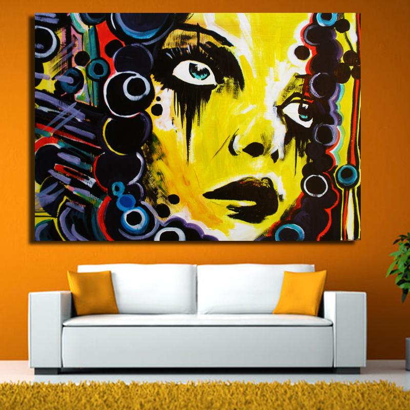 New Graffiti Street Wall Art Abstract Yellow Girl Modern Women ...