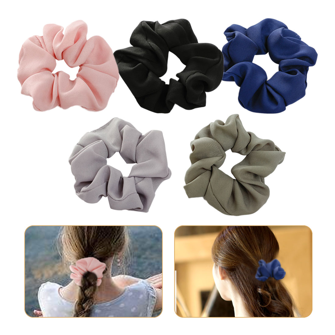 Haar accessoires Women Hair Bobble Scrunchie Large Bow Solid Color Ponytail Holder Retro Tie Rope hair clips for women in Women 39 s Hair Accessories from Apparel Accessories