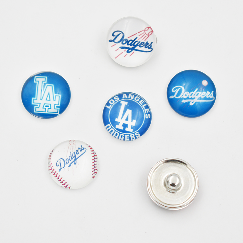 Los Angeles Dodger Baseball Team Glass Snap Button Charm For 18MM Snap Button Jewelry (Mixed Or Single Sell)