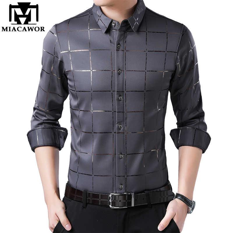 Miacawor новые мужские рубашки клетчатая Повседневная рубашка с длинными рукавами рубашки Slim Fit Camisa Masculina мужская одежда C493
