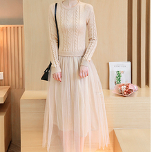 2017 autumn fashion high temperament winter dress O-neck slim long sleeve long knitting patchwork mesh ladies dresses