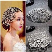 Rhinestone Crystal Pearl Crown And Tiara Wedding Bridal Flower Veil Headband Bridal Tiaras Hair Accessories Wedding