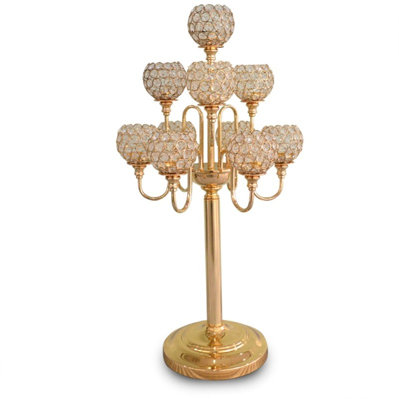 10 arms luxury crystal candelabras wedding table centerpiece/ 82CM Tall by 42 cm diameter gold silver candle holder