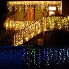 Luzes de natal decoração exterior 5m droop 0.4 0.6m cortina led luzes da corda do icicle jardim natal festa luzes decorativas