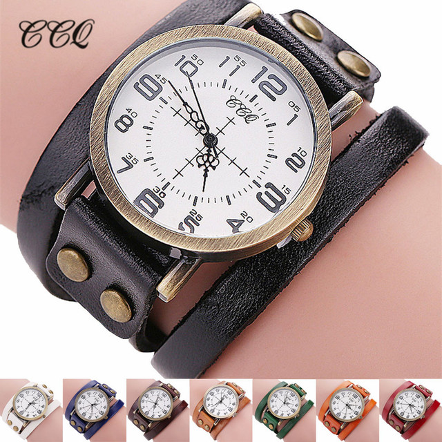 CCQ Luxury Brand Vintage Cow Leather Bracelet Watch Men Women Stainless Steel Wr