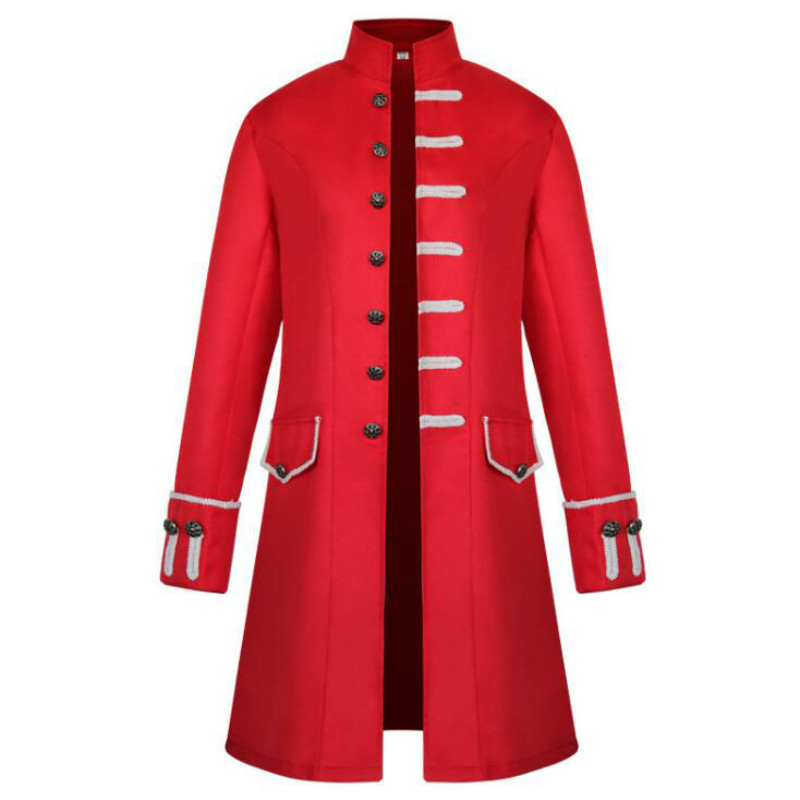 Hot New European and American Men's Coats Medieval Clothing Solid Color Fashion Steampunk Retro Men's Uniforms