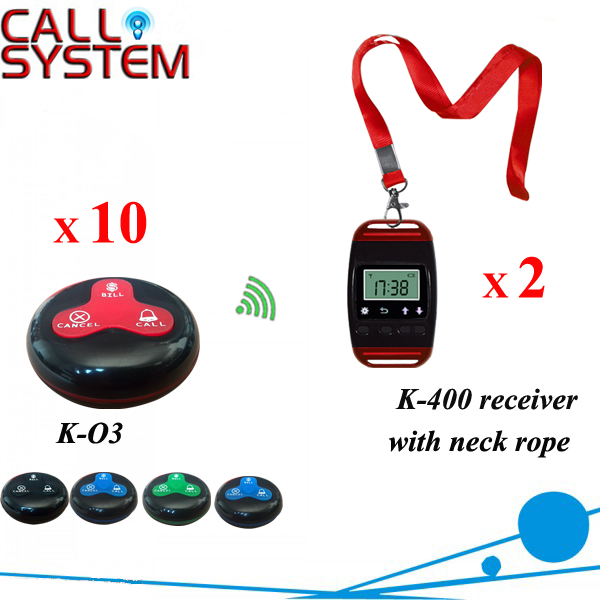 Table wireless waiter call system for restaurant equipment 2 watch with neck rope 10 waiterproof transmitters wireless waiter call button system waiter buzzer customized table food waiter equipment 1 display 3 watch 30 call button