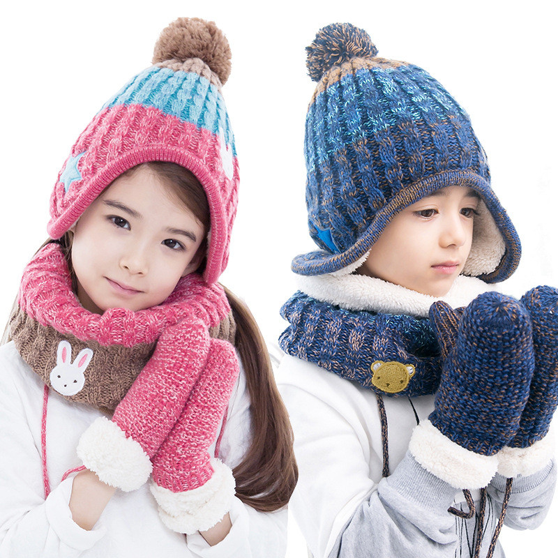 children hats scarf gloves three warm autumn winter