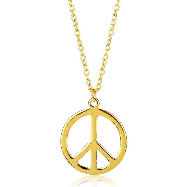 Online Shop Fashion Hot New Arrival Peace Symbol Necklace Women Gold