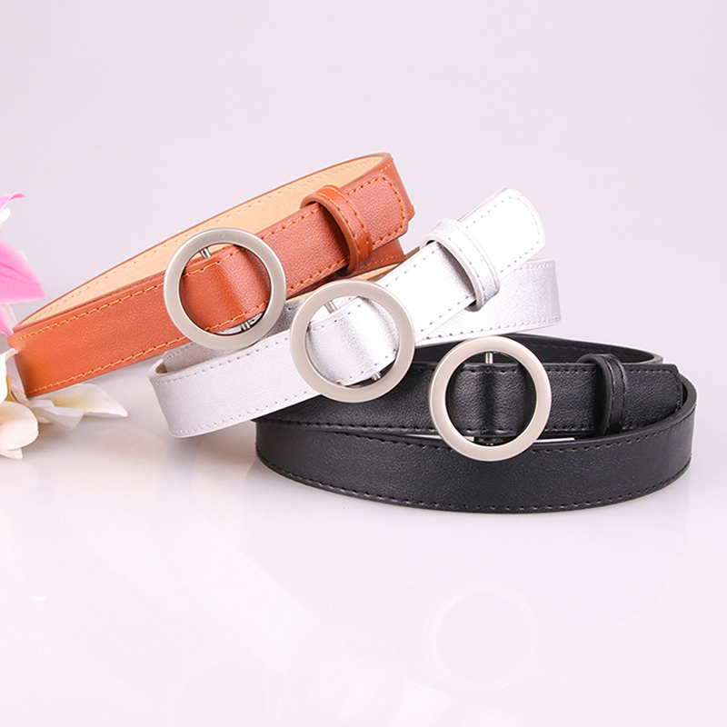 New Non-porous Round Buckle Belts Casual Faux Leather Belts For Women Solid Classic Belts Female Waist Belt