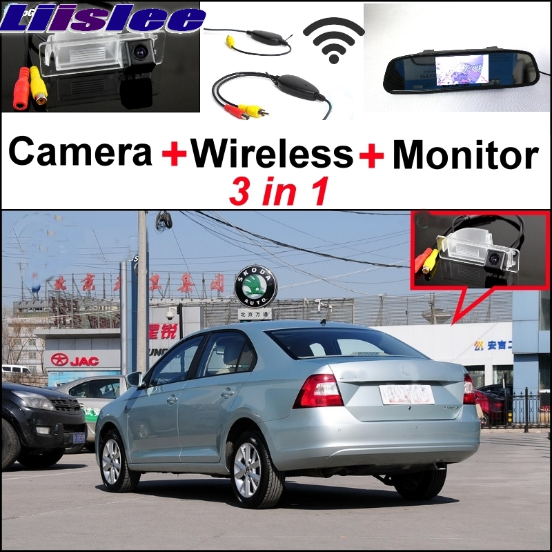 Liislee Special Rear View Camera + Wireless Receiver + Mirror Monitor Easy Back Parking System For Skoda Rapid Sedan 2012~2017 3 in1 special rear view camera wireless receiver mirror monitor back up parking system for citroen ds3 ds 3 2009 2015