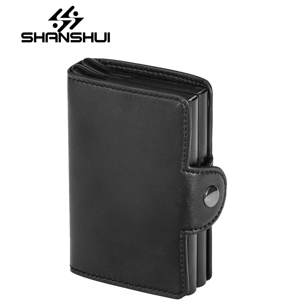 Leather Automatic Credit Card Holder Men High Quality Aluminum Business Paperwork Credit Card Multi-function Card Holder Wallet