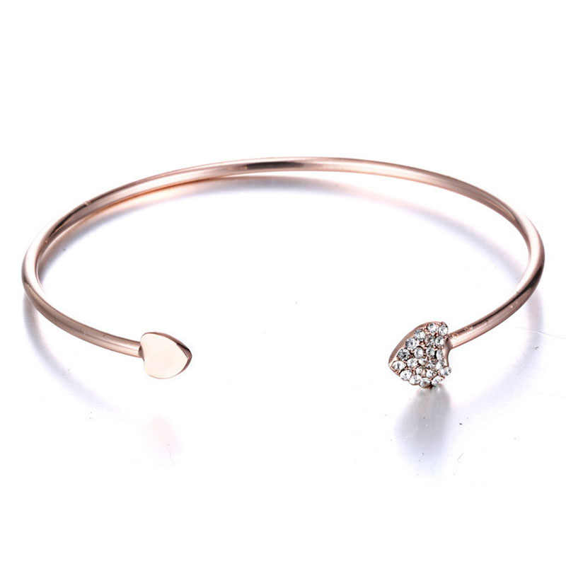 ISINYEE Fashion Stainless Steel Nail Bangle Cuff Open Cable Bracelet Manchette For Women Rose Gold Silver Crystal Screw Jewelry