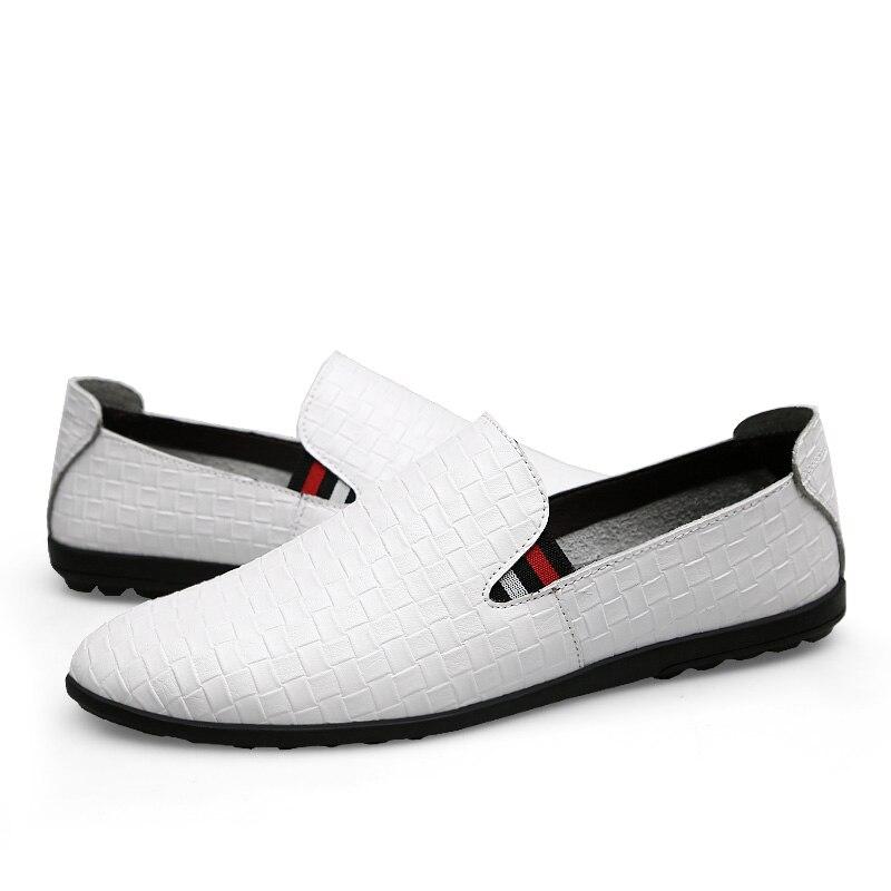 Sur De Mâle assorties Noir En bleu 2018 Appartements Hommes Casual Chaussures Quatre Sneakers Mocassins Saisons Cuir Treillis 44 Véritable Size38 n6gOPq