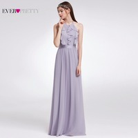 Ever Pretty Women Elegant Sexy Bridesmaid Dresses A Line Chiffon Ruffles Backless Formal Party Wedding Bridesmaid