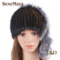 Hot sale real mink fur cap for women winter knitted mink fur beanies cap with fox fur pom poms thick female cap