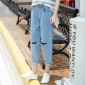 2016 Casual Holes Mid-Rise Ripped Boyfriend Jeans Women Denim Fashion Loose Capris Jeans Slim Beggar Female Jeans Pencil Pants