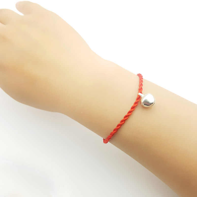 LNRRABC mode Simple 1 PC rouge Jingle Bell chaîne de corde enfants cadeaux chanceux filles unisexe fait à la main tressé Bracelets de corde rouge
