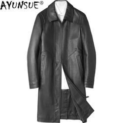 AYUNSUE натуральная кожа куртка мужская одежда 2018 Мужская овчина Пальто Осень Длинная кожаная куртка Chaqueta Cuero Hombre ZL973