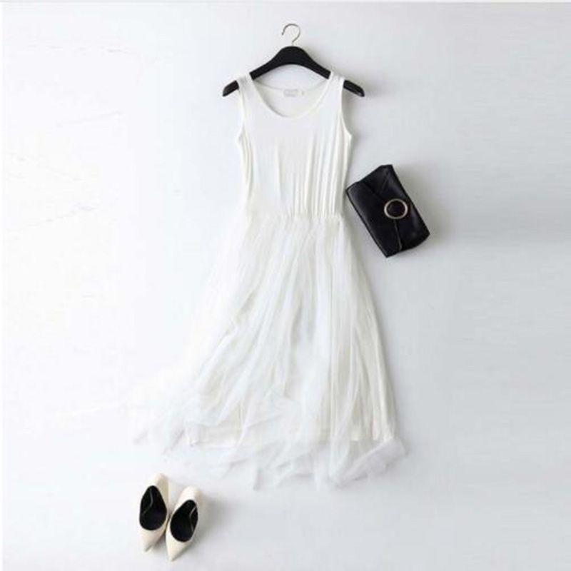 Sleeveless Mesh patchwork basic spaghetti strap Dress For Women 2020 Spring Tulle Elastic Lace Vest Summer Dress Female 5