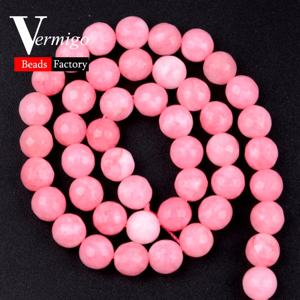 Natural Stone Beads Faceted Pink Chalcedony Loose Beads For Needlework Jewelry Making 4 6 8 10 12mm Diy Bracelet Accessories 15 quot in Beads from Jewelry amp Accessories