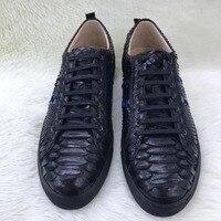 100% из натуральной кожи питона мужская обувь, high end качество змеиной кожи черного и синего цвета мужская обувь кроссовки с коровой внутри Бес