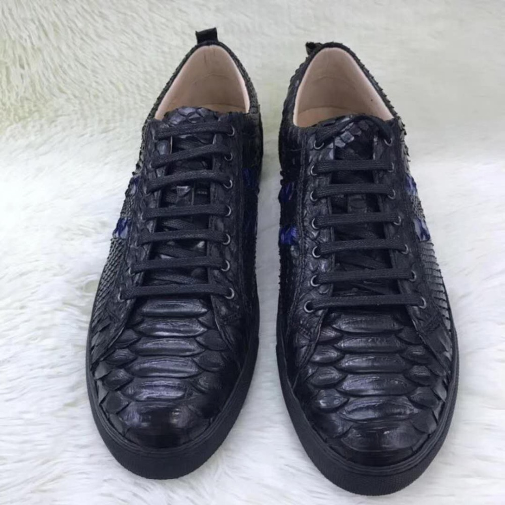 100% Genuine real python skin men shoe,high end quality snake skin black&blue color men shoe sneaker with cow lining free ship yuanyu 2017 new hot free shipping real python skin snake skin color women handbag elegant color serpentine fashion leather bag