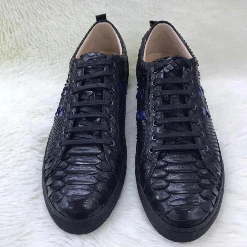 100% Véritable peau de python véritable hommes chaussures, haut de gamme qualité serpent peau noir et bleu couleur hommes chaussures sneaker avec vache doublure bateau libre