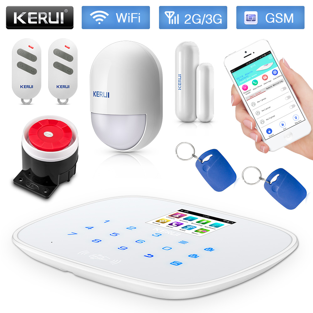 KERUI 3G WiFi GSM Security Alarm System PSTN RFID IOS Android APP Control Wireless Smart Home Burglar Alarm Sensor Alarm DIY kit wireless gsm pstn home alarm system android ios app control glass vibration sensor co detector 8218g