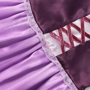 Image 4 - YOFEEL Disfraz de princesa Rapunzl para niña, disfraz de princesa, ropa de niña, Vestido de manga de pétalos enredados, vestido de fiesta de Halloween de verano
