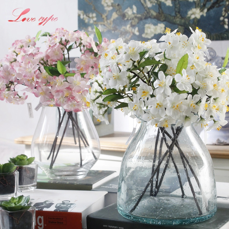1PC Artificial Flowers White&Pink Cherry Blossoms Flowers DIY Flower Bouquet Silk Flowers Home Garden/Wedding Party Decoration
