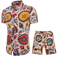 Summer 9 Colors Selection Men Short Sleeve Flower Shirts and Drawstring Shorts Size S 5XL Male Movement Casual Sets