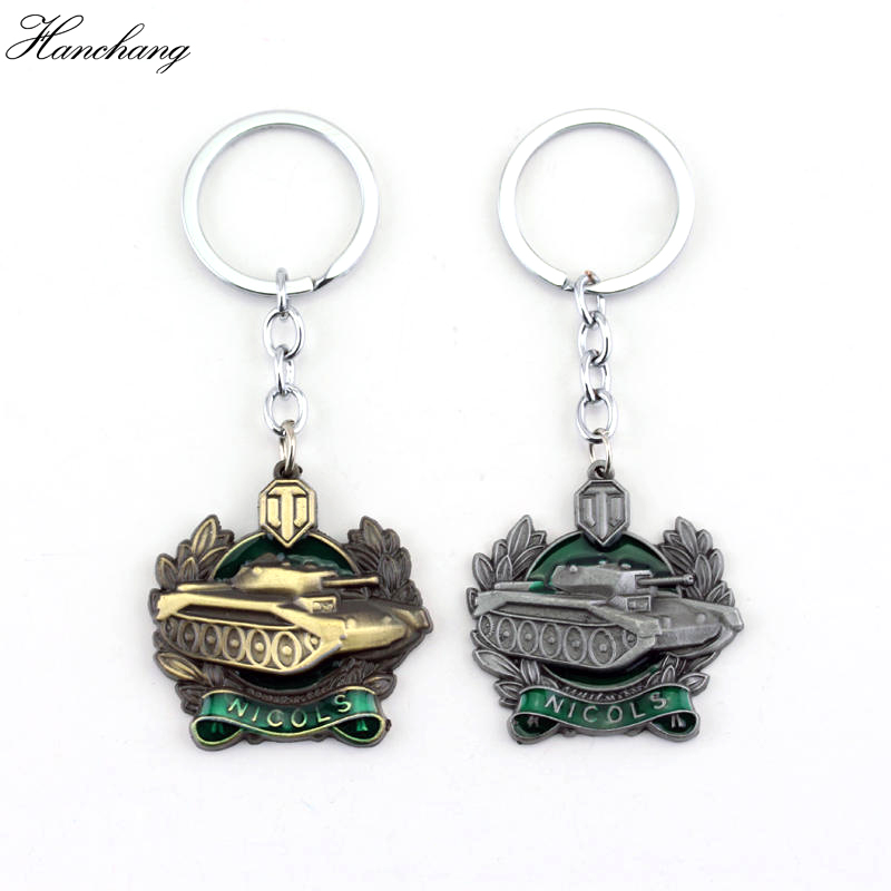 Hot Sale Popular Game Keychain WOT Keychain World Of Tanks Keychain Metal Men Car Key Gift Tank War Pendant Keyring Jewelry