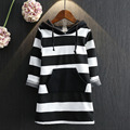 Hodded Girls Dresses Cotton Winter Autumn Spring 2016 New Striped Kids Dresses Long Sleeve Children Clothing Baby Girl Dress