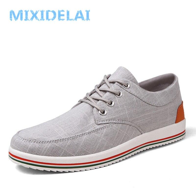 43b56d6c7ce MIXIDELAI Big Size Breathable Mens Shoes Sales Lace Up Canvas Shoes Luxury  Brand Men Shoe Designer China Cheap Shoes