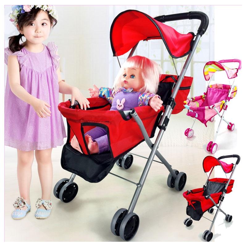 Bébé jouets poussette pour filles semblant jouer poussette poussette jouets marcheur panier enfants poussette pour poupées parapluie landau 2 ~ 4 Y