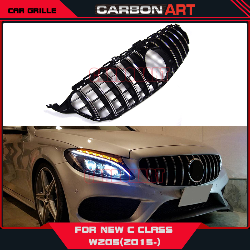 [11.11] Carbonart C Class W205 GT R GTR Front Bumper Mesh Grill Grille Fit for mercedes W205 C200 C300 Sports No/with Camera