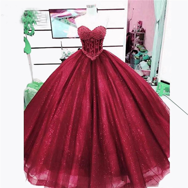 Burgundy Sparkle Prom Dress 2018 Sweetheart Appliques Beads Tulle Puffy  Ball Gown Long Formal Evening Gowns for Wedding 3b2e95231a42