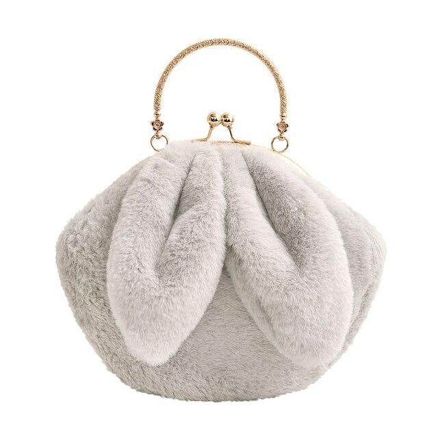 cf2beb2510 Women Bags Furry Funny Rabbit Ear Fluffy New Metal Handle Soft Fur Plush  Cute Shoulder Bags Handbags HY-528