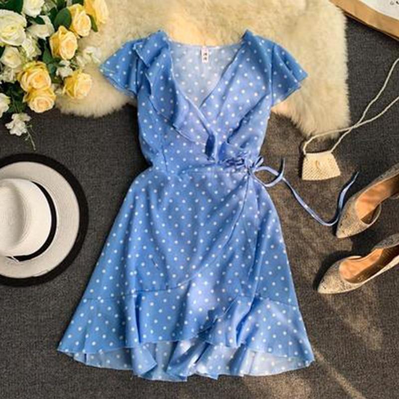 2019 Chiffon Fashion Print Polka Dot V-neck Ruffle Dress Women Belt Dress Summer Short Sleeve Dress Aa924